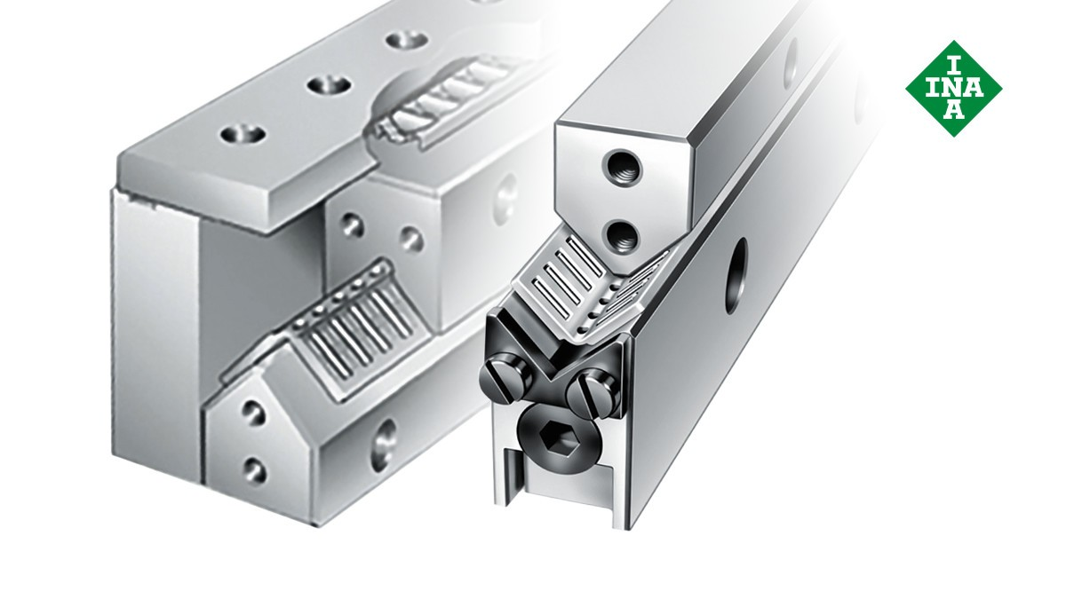 Schaeffler lineárne vedenia: Vodiace lišty M/V s nastavovacím klinom a uhlovou plochou klietkou