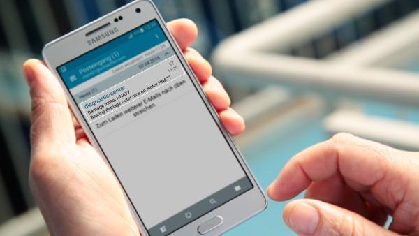 """Prevádzkovatelia zariadení získajú s digitálnou službou """"ConditionAnalyzer"""" správy emailom a môžu si ich jednoducho pozrieť na svojom mobilnom koncovom prístroji."""